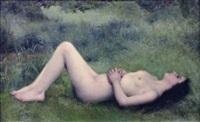 femme nue allongée dans l'herbe by louis courtat