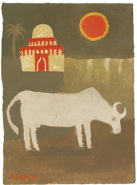 landscape with bull by mary fedden