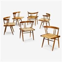 set of six grass-seated chairs, circa 1960 by george nakashima