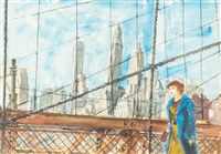 girl walking on the brooklyn bridge by reginald marsh