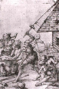 a group of seven drawings, mostly with mythological     subjects by campagnola