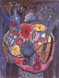 still life with flowers and mandolin by alice whitten lindborg