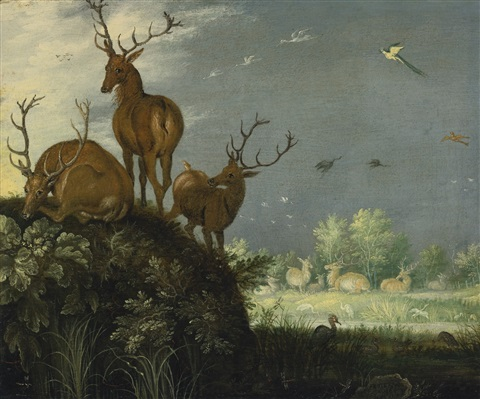 three stags in a landscape by roelandt savery