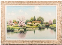Springtime scene of cottage by lake and...