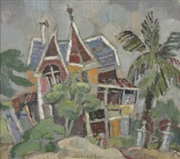 red house with two palm trees by gregoire johannes boonzaier