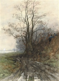 near the river in autumn by maria philippina bilders-van bosse