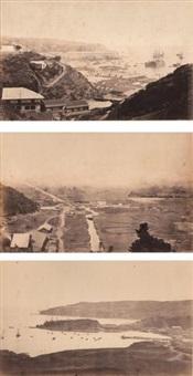 colcura près de lota, valparaiso et débarcadère de talcahuano (3 works) by paul-emile miot