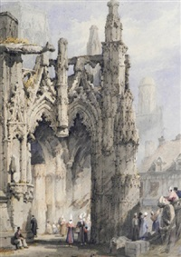 the cathedral porch, chartres by samuel prout