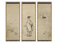 pheasant / figure / quail (triptych) by kano tsunenobu