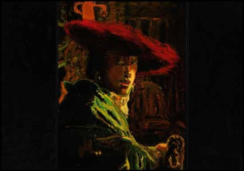 a eulogy to art life figure studyman with a red hat from vermeer by david bierk