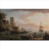 a mediterranean harbor with a shipyard by jean henry d' arles