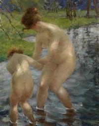bathing mother and child by vitaly gavrilovich tikhov