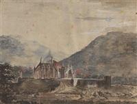 gotische kapelle in einer berglandschaft by karl friedrich schinkel
