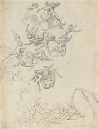 the fall of the rebel angels (+ the martyrdom of saint catherine, verso) by flaminio allegrini