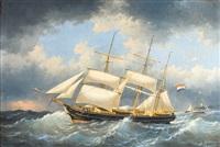 voilier belge à trois mâts hoop en pleine mer by egidius linnig