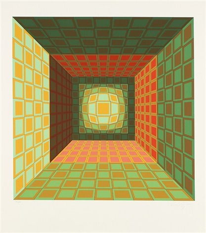 composition cinétique vert rouge et rose by victor vasarely
