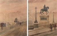 le pont-neuf et statue équestre d'henri iv sur le pont-neuf, sous la neige en hiver (2 works) by francis garat