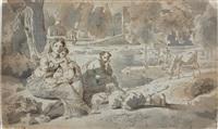repos de la sainte famille pendant la fuite en egypte by francois-xavier fabre