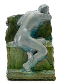 a seated nude by leopold bernhard bernstamm