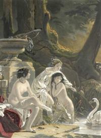 drei badende frauen mit schwan by paul allais