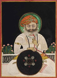 portrait of a raja smoking a huqqa by anonymous-indian (19)