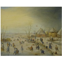 a winter landscape with kolf players, skaters and numerous other figures on a frozen river near an inn, an extensive landscape beyond by hendrick avercamp