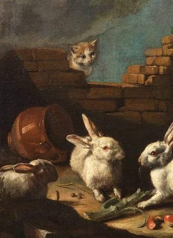 gallinacei e conigli rimirati da un gatto porcellini dindia capretta e piccioni novelli 2 works by giovanni agostino abate cassana