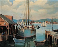 untitled - sailboat at dock by henry j. billings