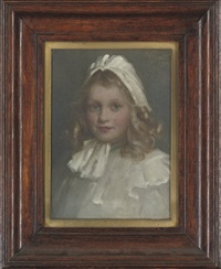 portrait of muriel calder in a white dress and bonnet (+ another; 2 works) by william m. pratt