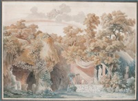 a grotto with the temple of vesta, juno in the sky above (stage design) by charles percier