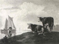 washerwoman on a river bank with cattle by leendert de koningh the younger