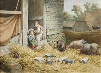 farmyard scene with pigs and ducks and children looking on by robert hills