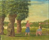 deux femmes près des arbres by andré bauchant