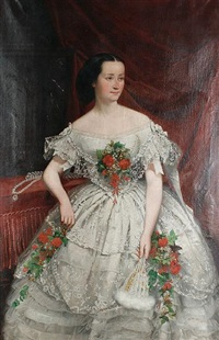a three-quarter length portrait of a woman in a lace ballgown applied with flowers by joseph hussenot