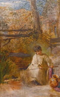 a boy fishing by john linnell