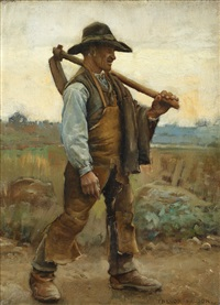 a labourer with pick-axe by arthur trevor haddon