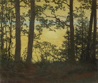 view of the lake at sunset through the trees by george agnew reid