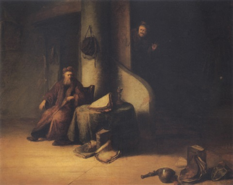 the scholar and his visitor by jacob van spreeuwen