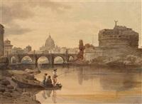romansicht mit tiber, engelsburg und petersdom (+ italienische berglandschaft mit kapelle, 1875; 2 works) by gustav von gasteiger