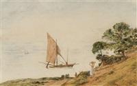 südliche küstenlandschaft mit segelschiffen by jacob alt