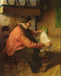 a volendam fisherman reading the paper (+ a volendam fisherman peeling potatoes; pair) by adrianus bleys
