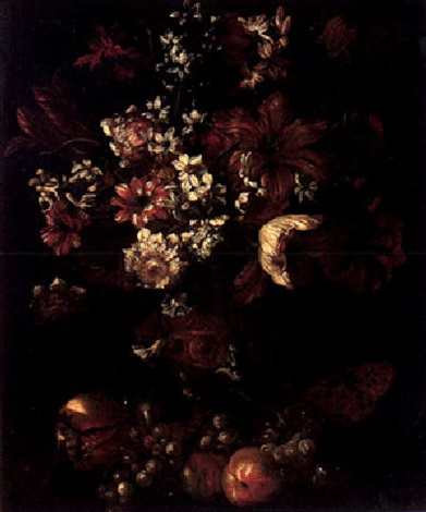 Still Life Of Various Flowers In An Ormolu Vase With A Watermelon