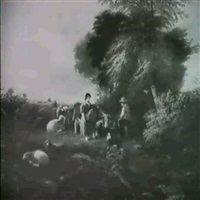 landscape with young shepherd and shepherdess by joseph rhodes