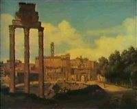the forum romanum with the capitol, rome by pierre monami