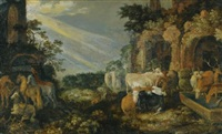 paradise landscape with horses, cows, goats and herders by roelandt savery
