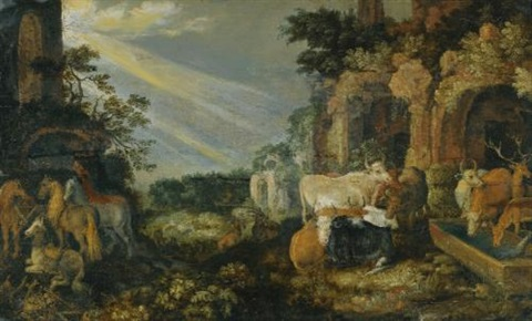 paradise landscape with horses cows goats and herders by roelandt savery