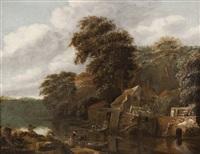 paisagem com casario, lago e figuras by cornelis gerritsz decker