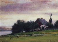 farm house with river by william brymner