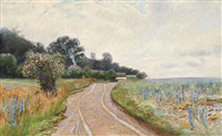 springtime on a country road, dusk by olaf viggo peter langer
