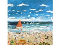 happy on the beach by simeon stafford